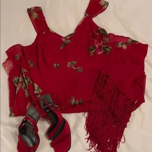 Red Floral Dress by Angie